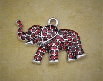 Red Elephant Crystal Pendant Antique Silver Zoo Jungle Animal Charm