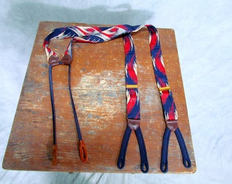 Vintage Suspenders Button Holes Rayon Fabric Red White and Blue