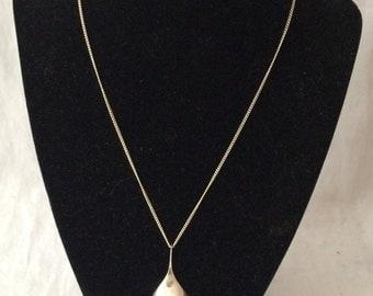 Vintage Signed J Ott Sterling Necklace Teardrop Pendant Modernist Pendant Sterling Silver Necklace OTT