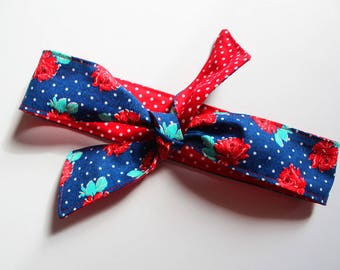Blue Headband, Red Fabric, Polka Dots, Rosie the Riveter, Rockabilly, Dolly Bow, Retro Hair Tie Up,Vintage, Gifts for Her, Under 10