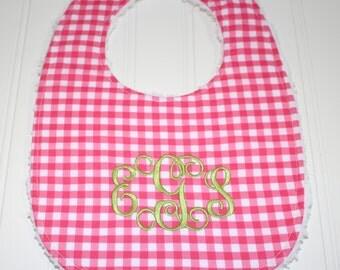 Monogram Baby Bib, Boutique Baby Toddler Bib, Gingham Bib, Triple Layer Chenille Bib, Adjustable Size, Personalized Baby,Bib Drool Bib