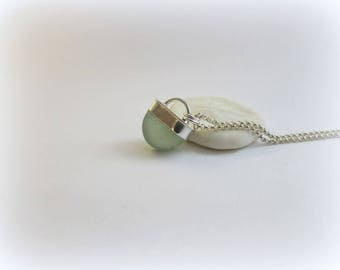 Sea glass necklace. Sterling silver necklace. Maine jewelry. Sea Glass Pendant. Sea glass jewelry. Bezel sea glass. Beach glass.