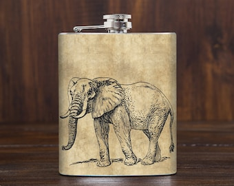 Elephant flask - safary animals - elephant lover gift - stainless steel 7 oz liquor hip flask