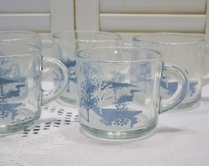 Vintage Glass Coffee Mug Set of 5 Blue White Winter Scene Anchor Hocking Holiday Kitchen Gift PanchosPorch