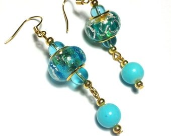 Turquoise Earrings, Glass Beads, Vintage Style Gold Tone - Hooks, Clip-On or Butterfly Studs (ET8-2)