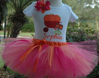 Fun Pumpkin 1st Birthday Girl Outfit, One Year Old Girls Outfit, Personalized,Fall Baby Girl Pumpkin Tutu Outfit, Can Add Birthday Age wagon