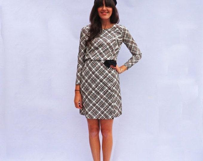 Plaid Midi Dress, Vintage 1960s Long Sleeve Day Dress, Button Down Dress, Bow Dress, Brown Cream Dress Everyday Dress Mod Fun Fashion Tumblr