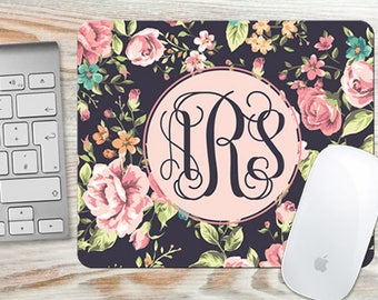 Pretty Floral Roses Monogrammed Mouse Pad - Personalized Mousepad - Desk Accessory Gift 7024R