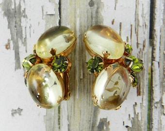 Vintage Rhinestone Earrings Jonquil Yellow Open Back Unfoiled Glass Jewels Olivine Green Navettes Gold Tone Finish