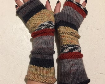 Knit Fingerless gloves Knitted Fingerless Mittens  Long Arm Warmers  Boho Glove  Women Fingerless Wrist Warmers Mismatched  Wrist Warmers