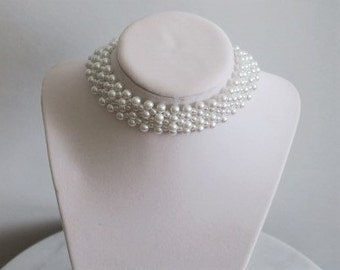 Bridal White Pearl Choker Necklace