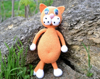Crochet Cat , Crocheted Toy, Оrange Cat toy