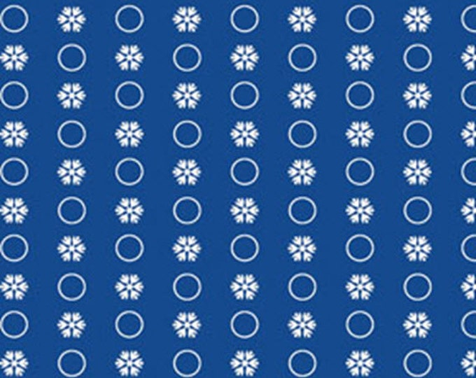 Half Yard Snow Days - Circle Flakes in Blue - Snowflakes - Cotton Quilt Fabric - Mitzi Powers for Benartex Fabrics - 3660-55 (W3526)