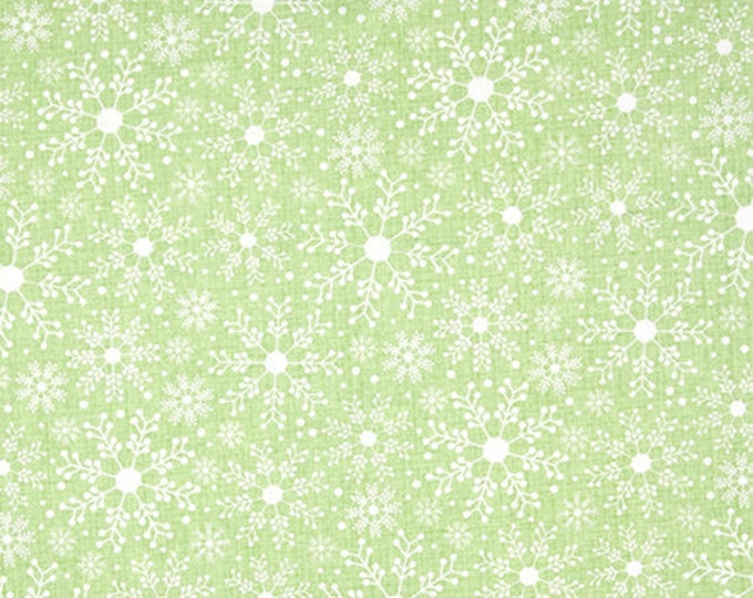 Half Yard Frosty Forest - Frosty Snowflakes in Green - Christmas Cotton Quilt Fabric - Cherry Guidry for Benartex Fabrics - 4777-44 (W3599)