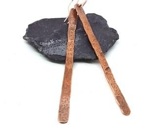 Long Copper Dangly Earrings - Stick Earrings - Hand Forged Copper Earrings