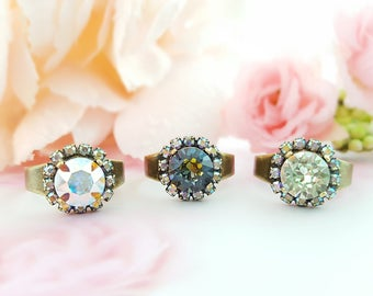 Swarovski Crystal AB Ring, Antiqued Brass Rhinestone Ring, You Pick Color, Crystal Bronze Ring, Mint Green Ring, Iridescent Ring, R5033