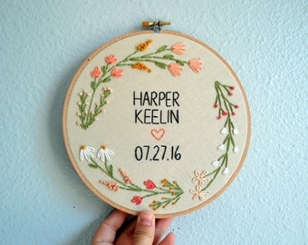 Custom Name Embroidery Hoop, Baby Name Embroidery, Nursery Wall Art, Embroidery Hoop Art, Wildflower Name Sign, Coral Mustard Wreath Decor