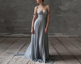 Eeribiya / Grey Wedding dresses silk wedding dress boho wedding dress bridesmaid dress Bohemian dress wedding gown chiffon wedding dress