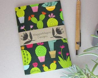 A6 dark green cactus pattern notebook journal sketchbook