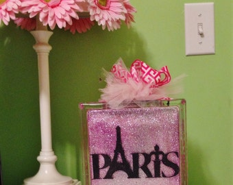 Paris Theme 8 x 8 Lighted Glass Block-Paris Night Light-Eiffel Tower Glass Block-Custom Eiffel Tower Night Light- Glitter Glass Block