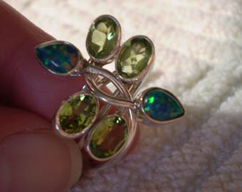 Opal (Created) Peridot (Natural) 925 Antiqued Sterling Silver Size 9 Ring