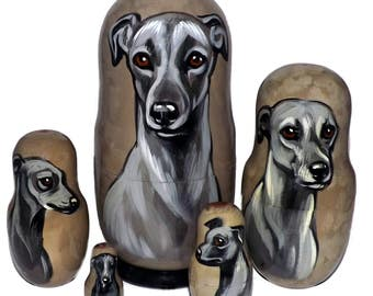 Italian Greyhound on Five Russian Nesting Dolls. Dogs. Gray.
