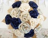 Paper flower wedding bridal rose bouquet ivory white midnight navy blue vintage UK work map hessian jute rustic romantic theme travel