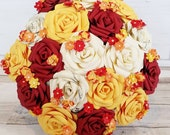 Paper Flower wedding bouquet rose origami blossom autum autuminal fall orange bordeaux red yellow orange honey ivory white theme bridal