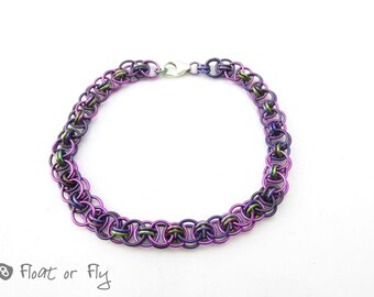 Helm Chain Maille Niobium Bracelet - Purple