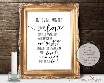 In Loving Memory, Instant download Printable Wedding Memorial Table Sign, Memory Sign, Those We love Don't Go Away (c0201)
