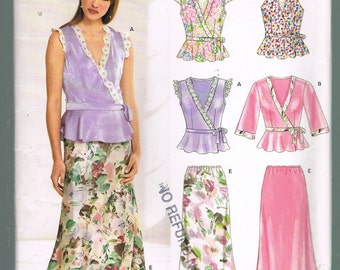 Size 10-22 Misses' Easy Sewing Pattern - V Neck Wrap Top Pattern - Long Skirt Pattern - Sewing For Women - New Look 6608