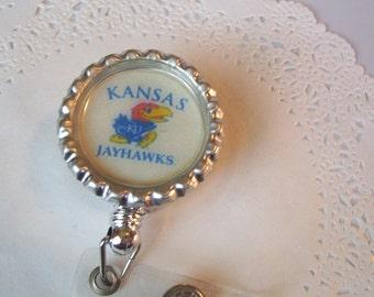 Kansas Jayhawks ID Holder (152) - Jayhawks Badge Holder - Jayhawks badge reel