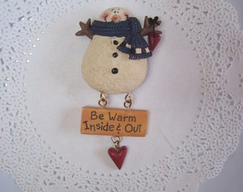 Snowman Magnet (685) - Snowman Refrigerator Magnet - Christmas magnet - hostess gift - Recycled jewelry