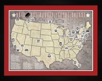 NHL National Hockey League Arenas Pro Teams Tracking Map | Print Gift Wall Art THCKY1824-2