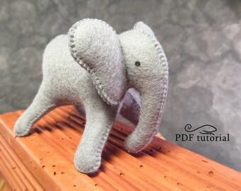 Felt elephant, felt elephant pattern, felt elephant making tutorial, elephant DIY, felt elephant stencil, felt animal, felt animal pattern