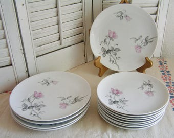 Vintage Mid Century Set of 12 Pink Roses Porcelain Luncheon Serving Pieces 4 Luncheon Plates 8 Dessert Plates Japan