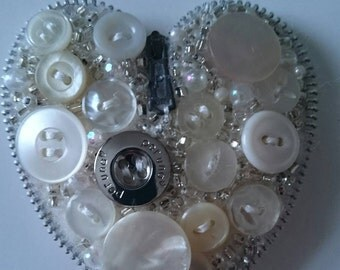 White Heart Button Brooch Boho Unique Gift using reclaimed materials