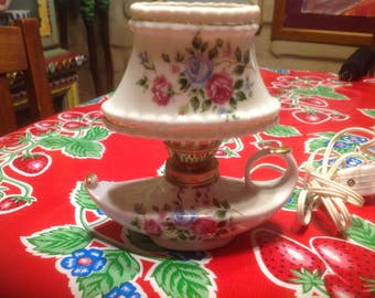 Vintage ceramic working night light with rose designs and Aladdin lamp base-Japan