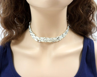 Coro Necklace White Rhodium Silver Link Choker Necklace Signed Vintage Coro White Enamel Vintage Coro Choker Necklace Jewelry