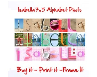 Isabella 7x5 Printable - Personalized Alphabet Photo Wall Art Download