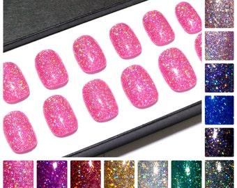 Fake Acrylic Nail Set - Faux Nails - Holographic Glitter Nails - Hand Painted Press On Nails - Petite Fake Nails - Short Artificial Nails