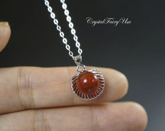 Tiny Red Carnelian Necklace - Sterling Silver Necklace - Silver Shell Necklace - Carnelian Jewelry - Mother's Day Gift - Chakra Healing
