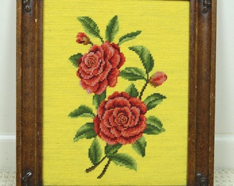 Vintage Framed Rose Needlepoint Picture, Pair of Red Roses 1970s Wall Decor Yellow Handmade