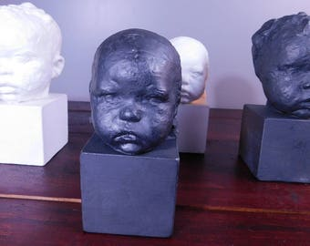 Vintage Artisan Baby Bust Sculpture Plaster Cast Baby Head In Black 6.5""