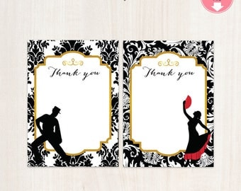 Flamenco Party Thank You Cards || Flamenco Party | Flamenco Themed Thank You Cards || Spanish Spain Instant Download