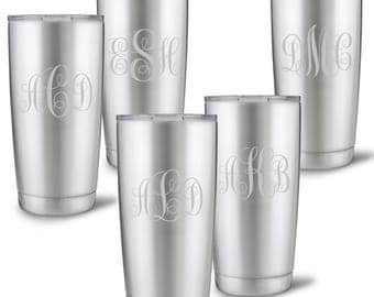 Personalized 20 oz. Stainless Steel Double Wall Insulated Interlocking Monogram Tumbler Set of 5 - Bridesmaid's Gifts - GC1521X5