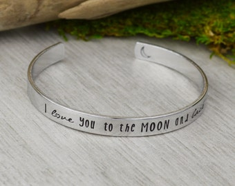 I Love You to the Moon and Back Cuff Bracelet - Aluminum Brass or Copper Bangle