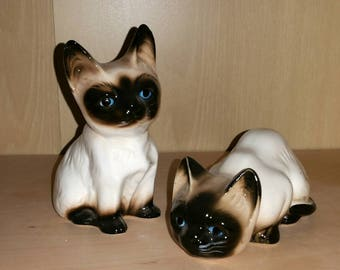 Cute Siamese Kittens Figurines Pair Porcelain Kitty Cats 1950s Ceramic Statues Kitsch Collectible Kitties Animal Feline Lover Cat Lady Gift
