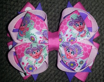Sesame Street Abby Cadabby Handmade Pink Purple Stacked Boutique Bow