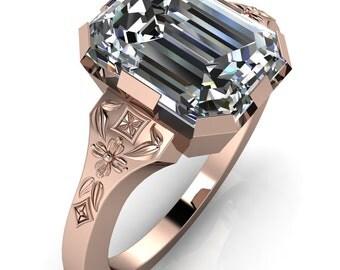 Svetlana Emerald Moissanite Milgrain Engagement Ring